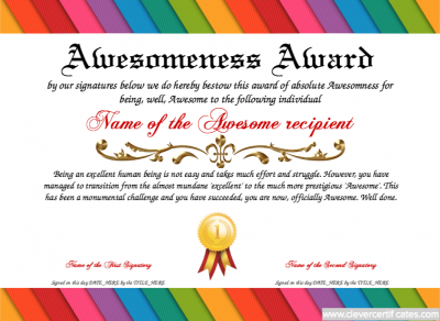 Awesomeness award free certificate templates you can add text create amazing certificates with a certificate template from our free certificate templates choose a certificate design and print your certificates with yelopaper Gallery