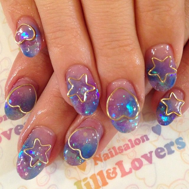 Stars hearts and glitter japanese gel nails jillandlovers's photo on Instagram