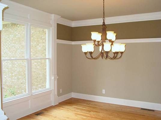 Dining Room Two Tone Paint Ideas dining room rial.maybe flip colors with dark on bottom. my rail