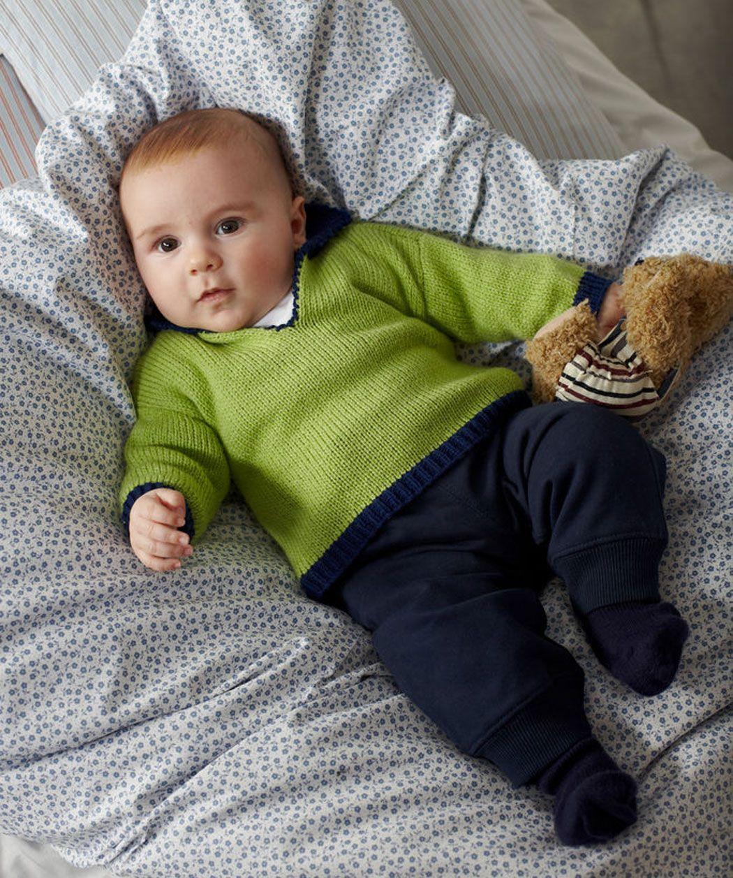 Babypulli Mit V Ausschnitt Gratis Strickmuster Stricken Baby
