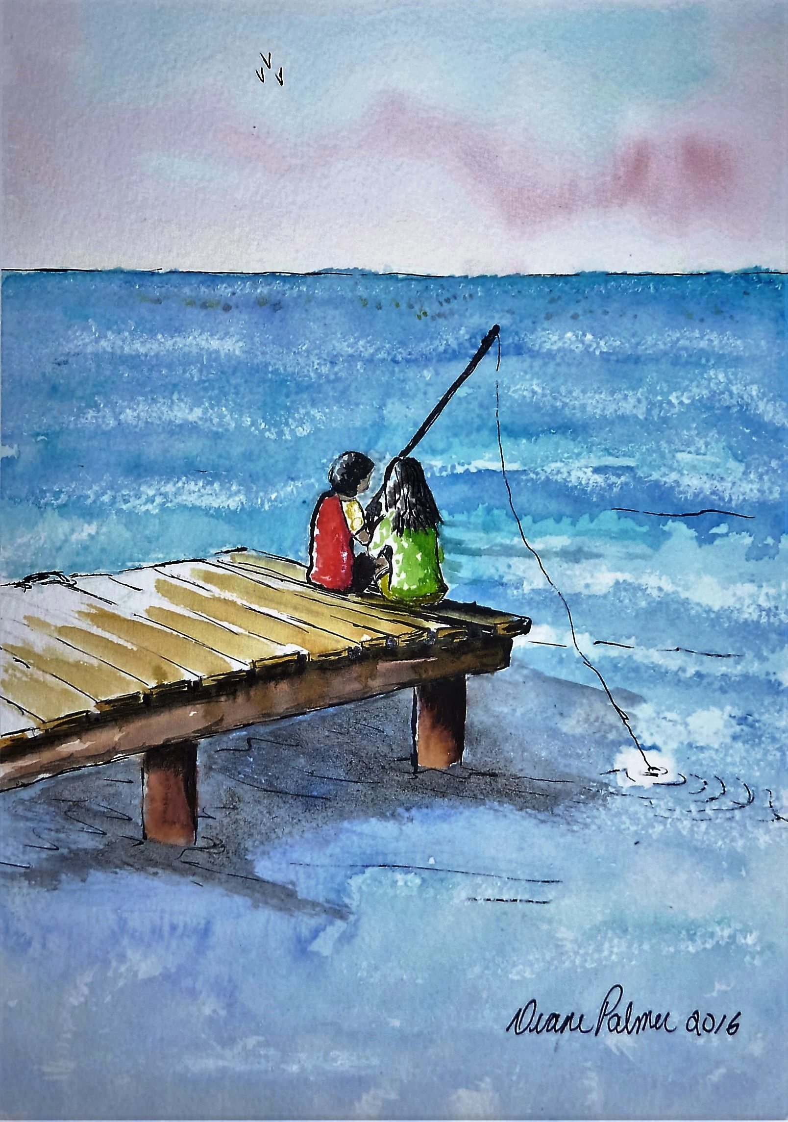 Kids Fishing Off The Dock Watercolor Watercolour Painting