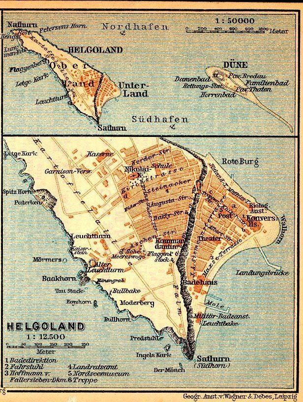 Beautiful Old German Map Of Heligoland A Curious Lump In The North