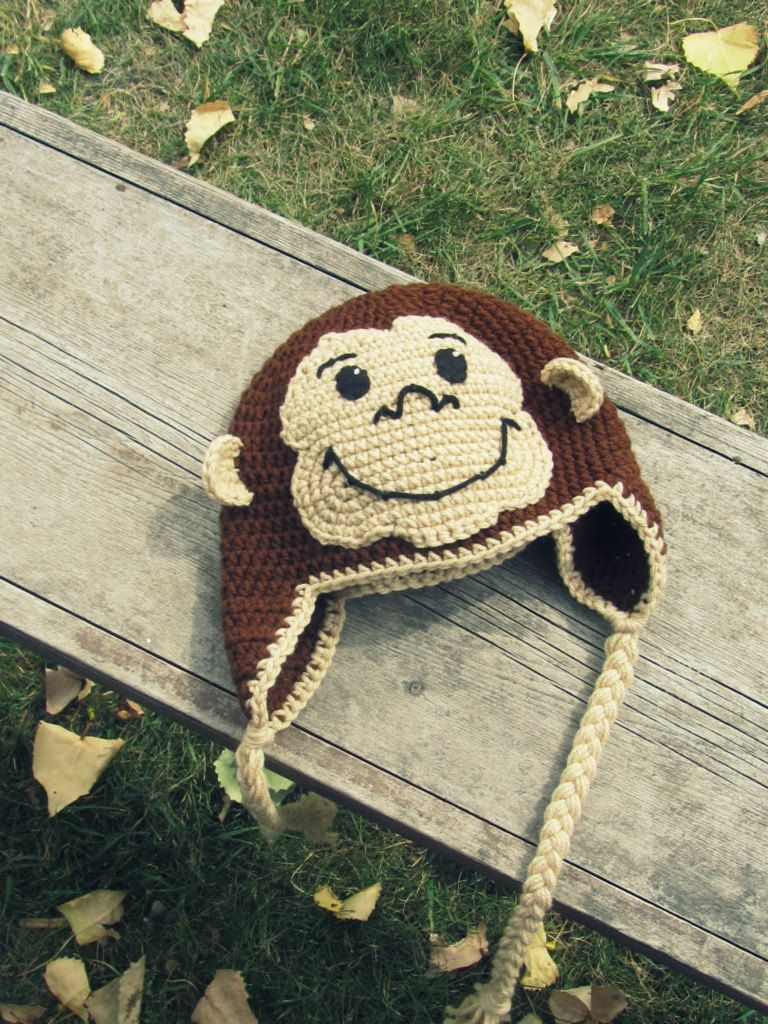 Curious George Monkey Hat Crochet Ear Flap (Newborn to Tween) MADE ...