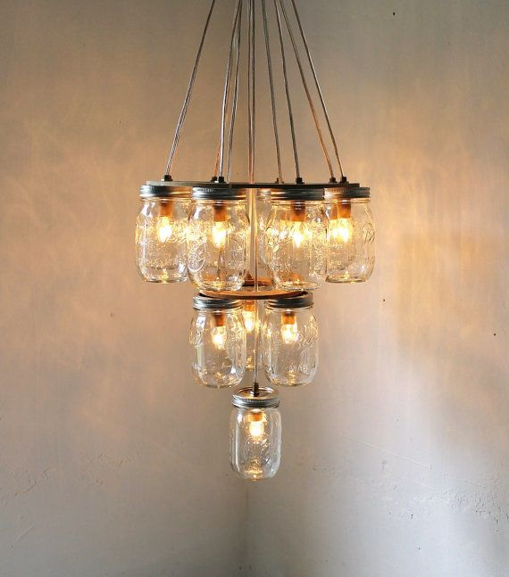 Mason Jar Chandelier, Large 3 Tier Mason Jar Lighting Fixture, 12 ...:Mason Jar Chandelier,Lighting