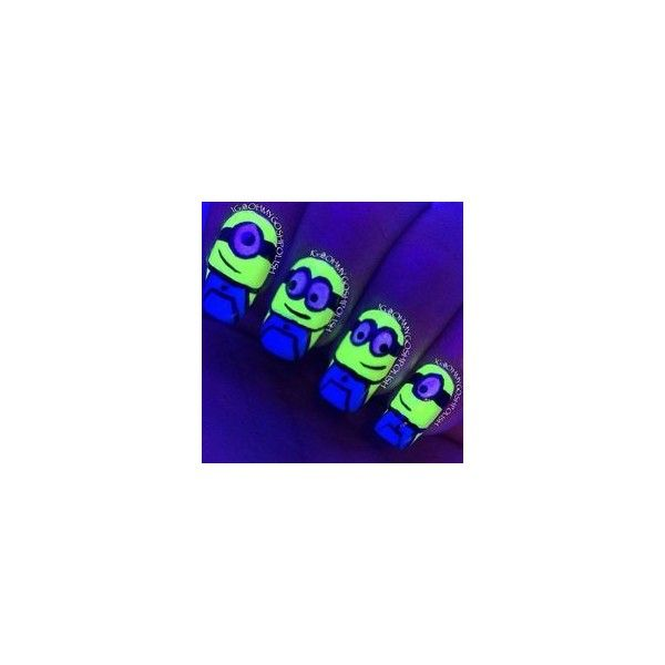 .@lynetteteefashion | Yes or no? Glow in the dark minions #nails #art... ❤ liked on Polyvore featuring beauty products, nail care, nail treatments and nails