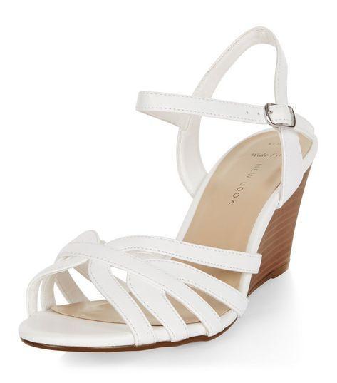 White Wide Socks Strappy Fit SandalsShoesamp; Wedge EHIWD2Y9