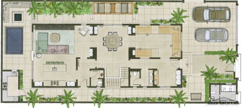 مخطط فيلا الزمردة 3 طوابق 4 غرف نوم 6 دورات مياه 2 كراج Modern House Design House Design Modern House