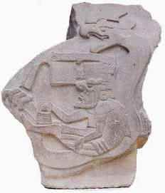 Mythic Olmec figure with Jaguar mask on Quetzalcoatle, sculpture from the ancient Olmec site of La Venta (Mexico). Olmecs are considered to be the oldest Meso American Culture.