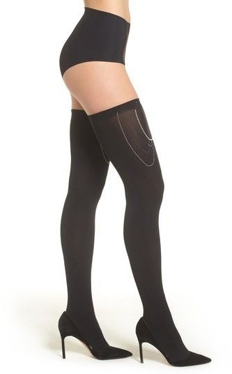 ea218f858 Wolford Embellished Stay-Put Stockings