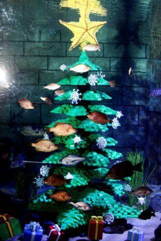 An Underwater Lego Christmas Tree At Sea Life Carlsbad Aquarium Decorations Fish Tank Decorations Lego Christmas Tree
