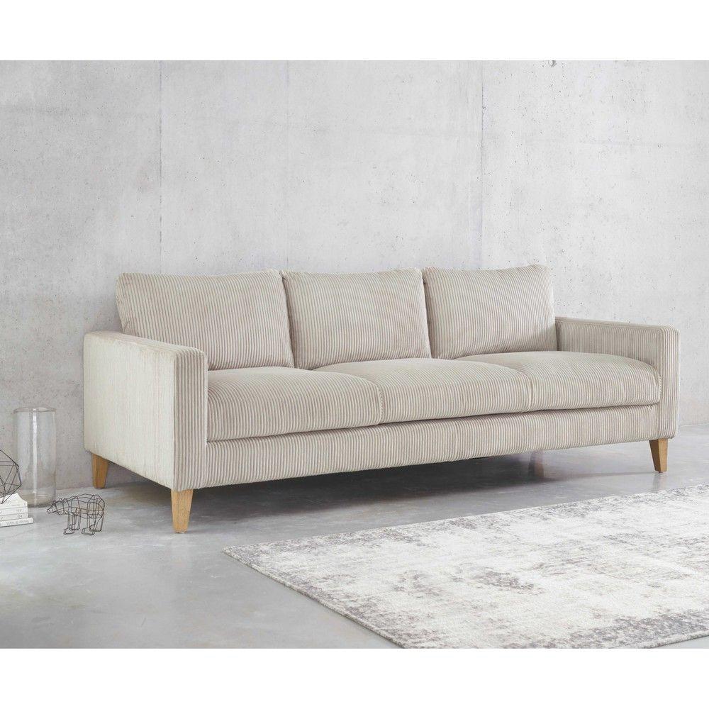 Canapé 4 places en velours c´telé gris clair