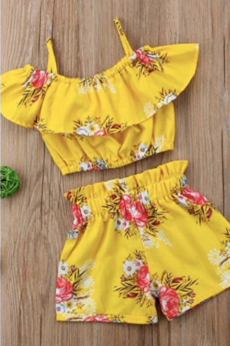 2Pcs Toddler Kids Baby Girls Sunflower Clothes Halter Tops Shorts Outfits Summer
