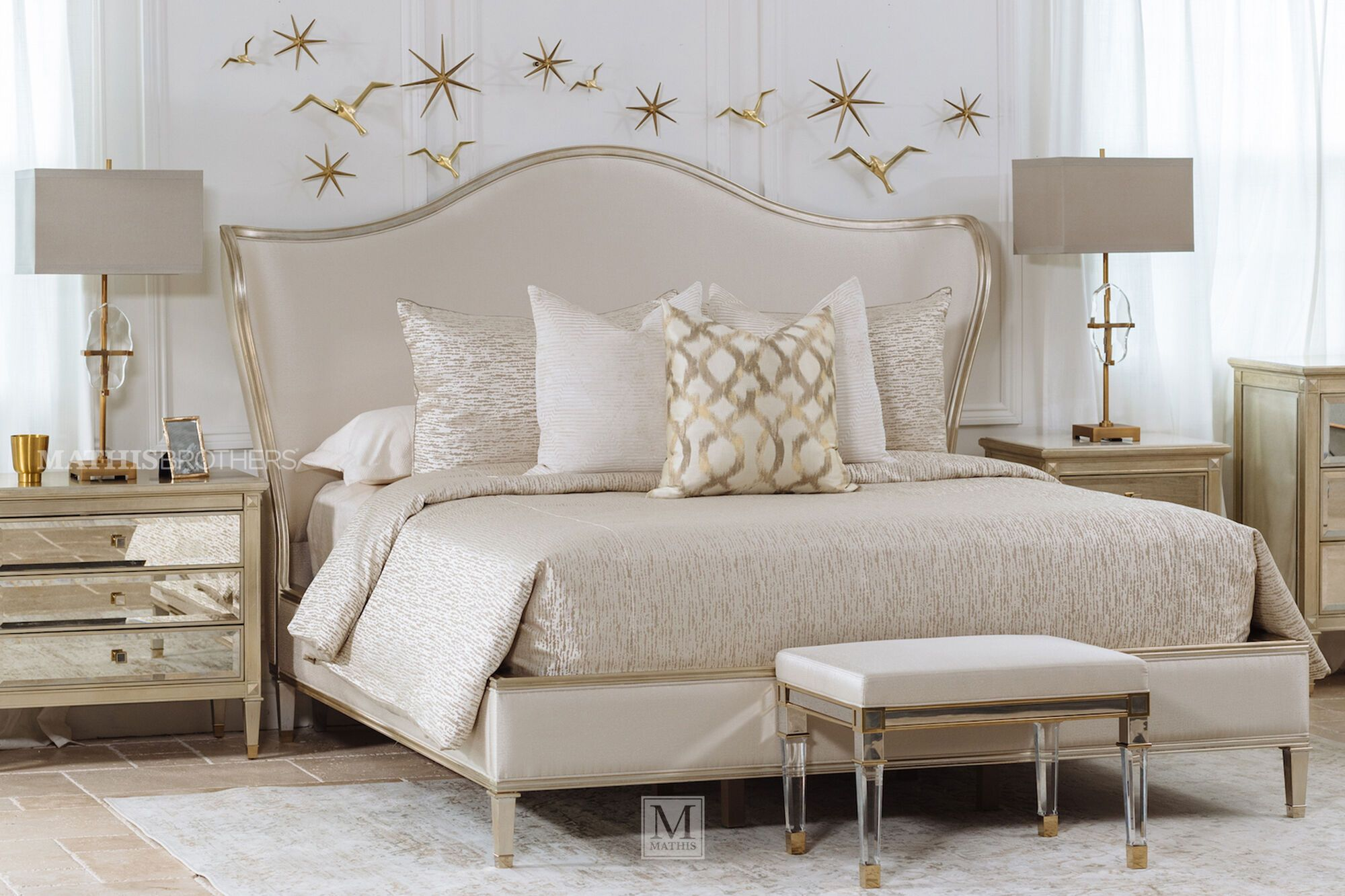 62 Modern California King Bed In Beige Mathis Brothers Furniture Upholstered Bed Decor Beige Bedroom Furniture California King Bedding