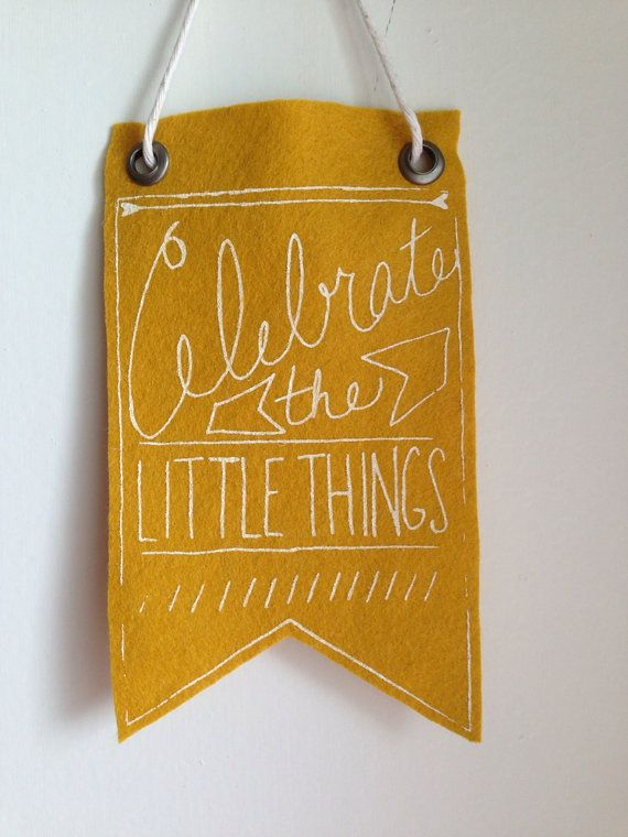 Mini-Banner wall hanging, mustard yellow wool blend felt, screen print in white ink on Etsy, $15.87 AUD