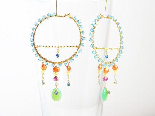 Japanese Jewelry Designer/  Dangling Hoop Earrings by OstaraTokyo