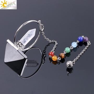 Natural Amethyst Crystal Pendule Pyramide Gemstone Reiki Chakra radiesthésie Pendentif