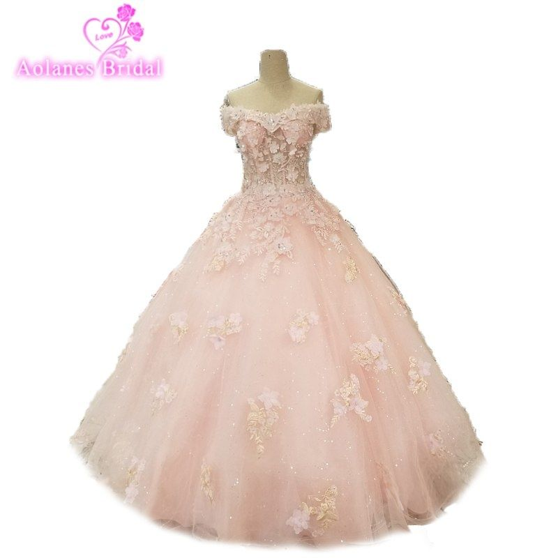 Evening Party Dress With Stones Dubai Prom Gown Lace Flowers 3d Prom Dress  Crystal Beaded off the Shoulder Pink Prom Dresses a4508ee358bd