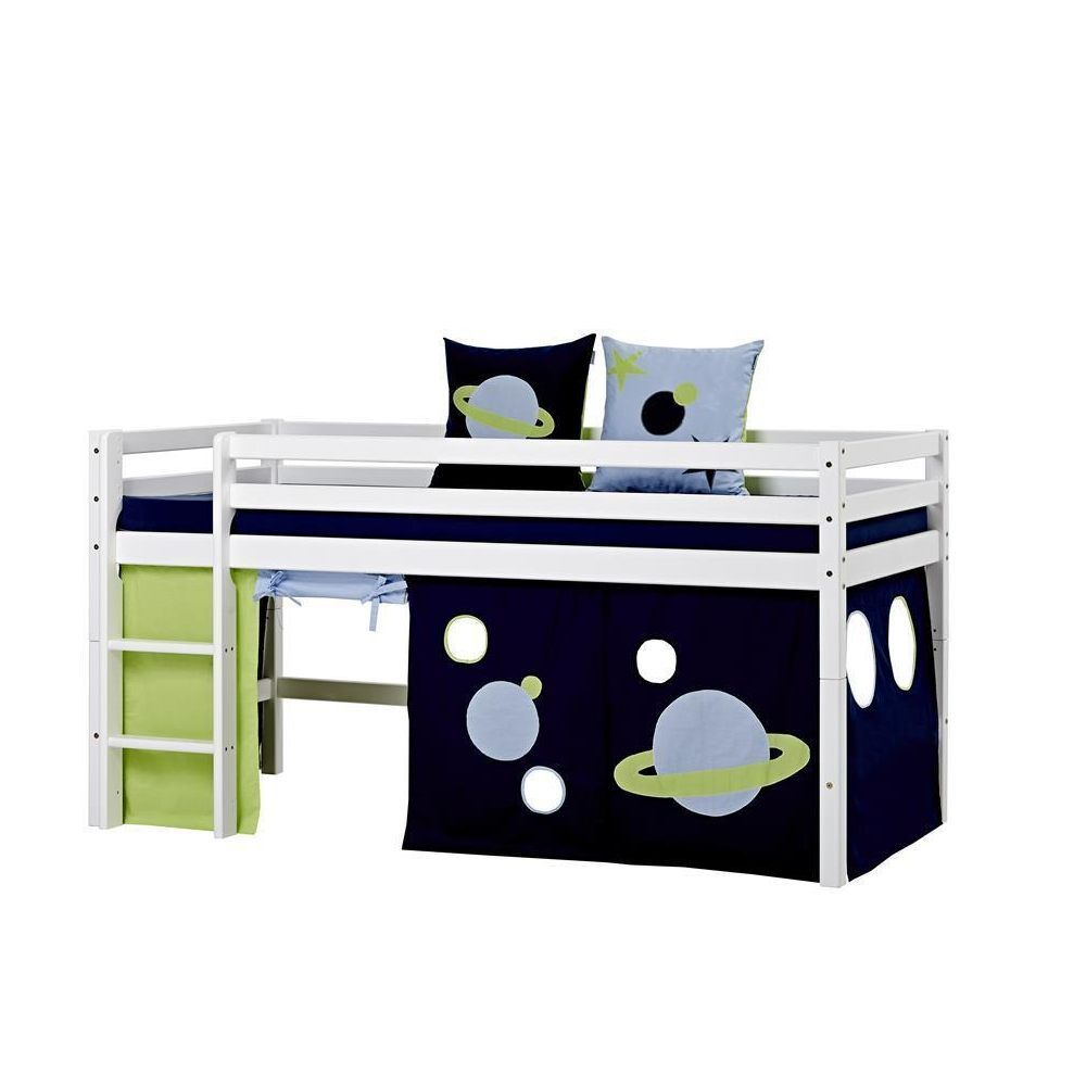hoppekids bett 90x200 cm basic space spielbett mit vorhang kiefer wei jetzt bestellen unter. Black Bedroom Furniture Sets. Home Design Ideas