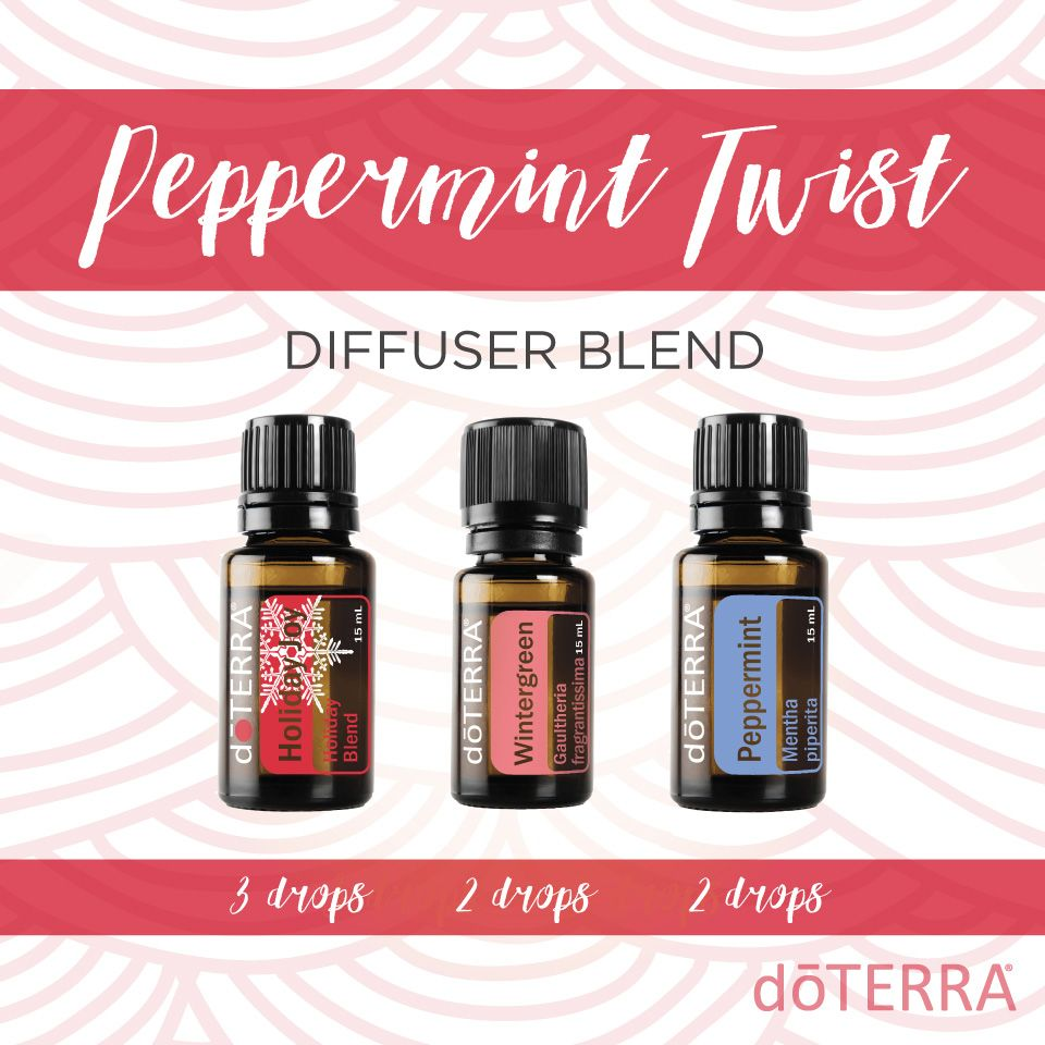doTERRA Essential Oils diffuser blend - Peppermint Twist - winter holiday Christmas #winterdiffuserblends