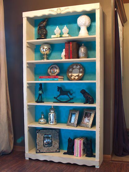 Ivory Chalkpainted Bookshelf With Wallpaper Lined Shelves