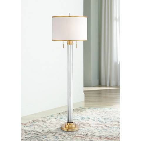 Column Floor Lamp Possini Euro Cadence Crystal Column Floor Lamp Satin Brass  Style