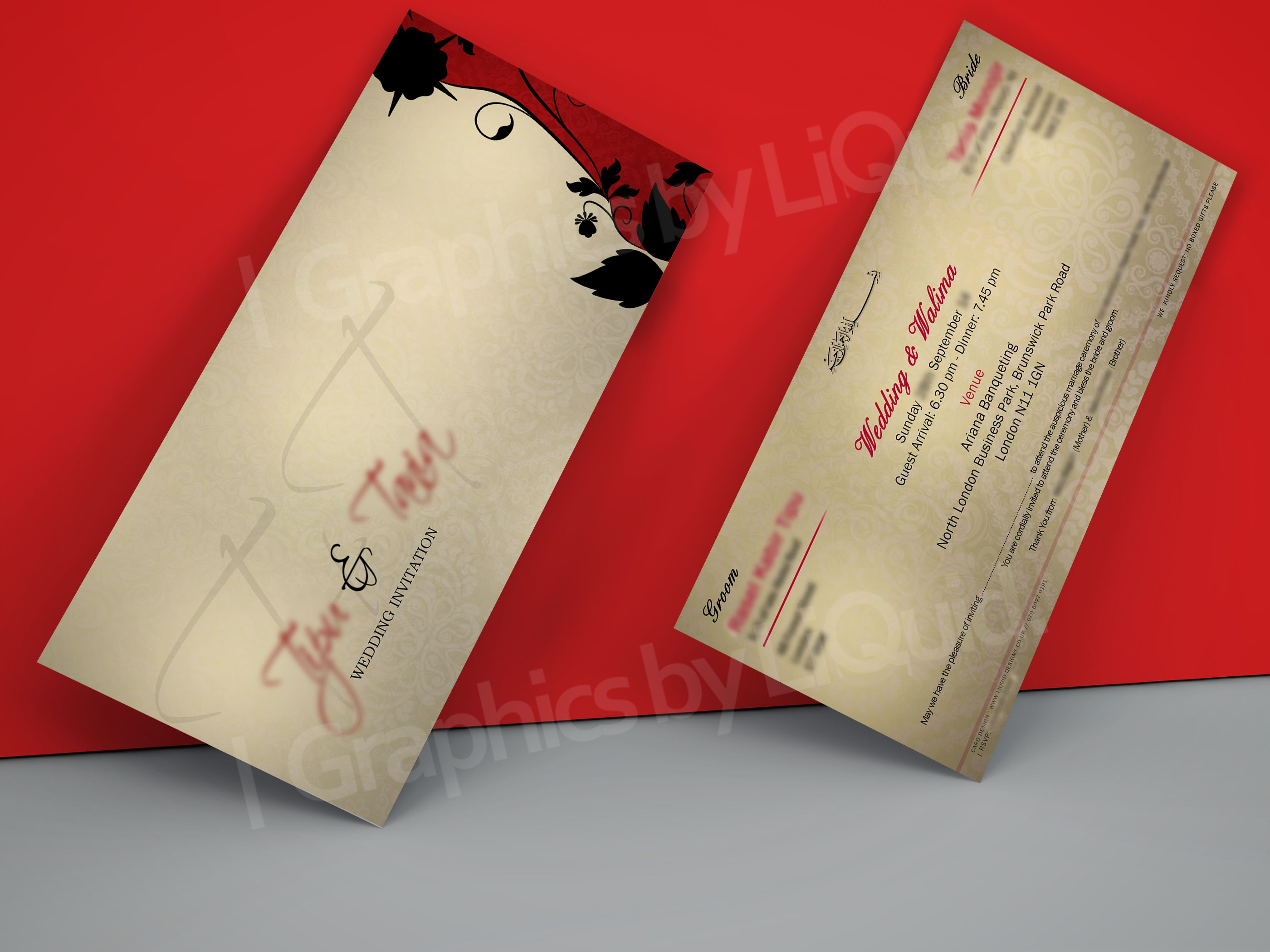 Cream & Red DL Wedding Invitation Card QDL03 | Wedding Invitation ...