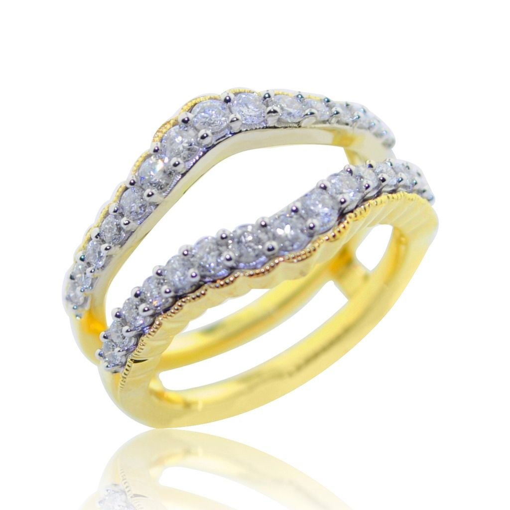 3/4cttw Diamond Ring Guard Solitaire Jacket 10K Gold And Gold Tone 13mm Wide, Women's