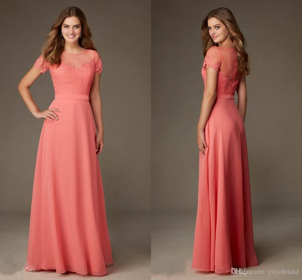 Modest designer coral lace bridesmaid formal dresses with short