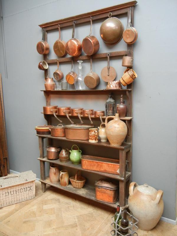 Vintage Küchenregal mit Kupferkochtöpfen   Wohnideen   Pinterest