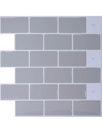 Gray Peel And Stick Tile Backsplash 12 X 12 Inch From Clever Mosaics Stick Tile Backsplash Tile Backsplash Stick On Tiles