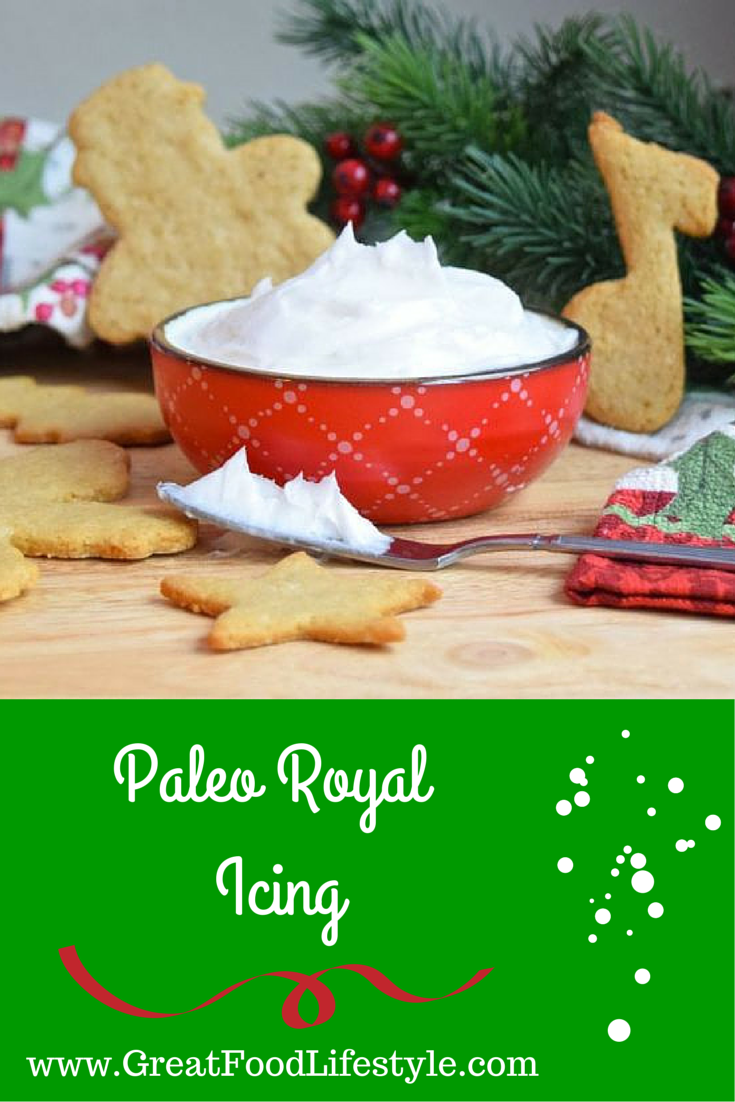 Paleo Royal Icing is perfect for your holiday cookies and cakes! For more healthy recipes follow me on Pinterest and subscribe to my blog at this link.
