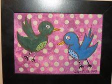 "small folk art framed painting - NFAC - BIRDS - ""Two Birds"""