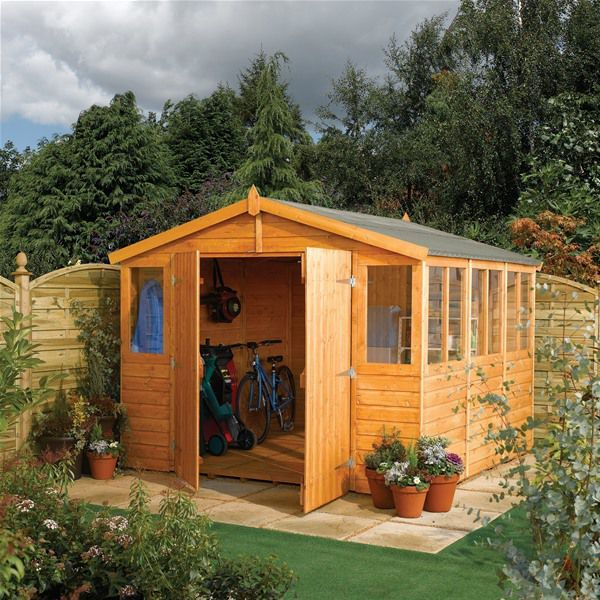 Rowlinson 9 X 12 Wooden Garden Workshop Garden Workshops Workshop Shed Wooden Sheds