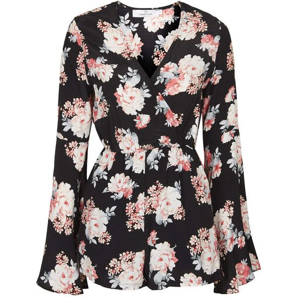 **Floral Playsuit with Flared Sleeves by Oh My Love (£12) ❤ liked on Polyvore featuring jumpsuits, rompers, playsuits, dresses, tops, multi, floral rompers, flower print romper, bell sleeve romper and floral bell sleeve romper