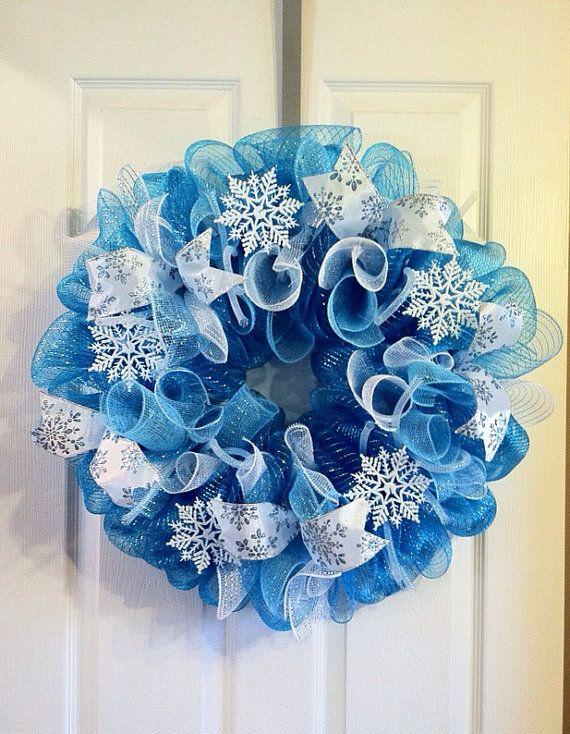 Winter Wreath/ Snowflake Deco Mesh wreath/ January Wreath