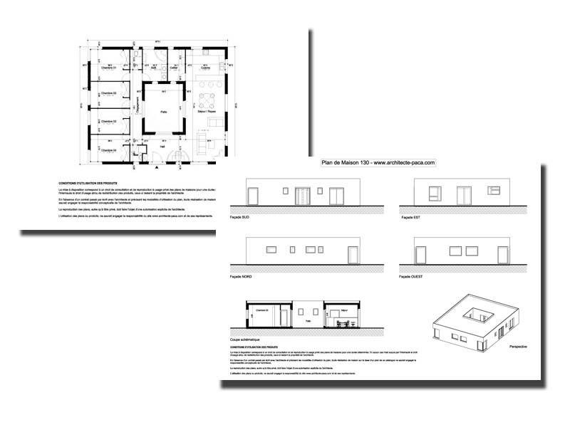 Telecharger  Plan Maison Avec Patio   Dossier Complet Plan