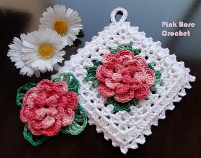PINK ROSE CROCHET /: Pega Panelas Quadradinho com Flor