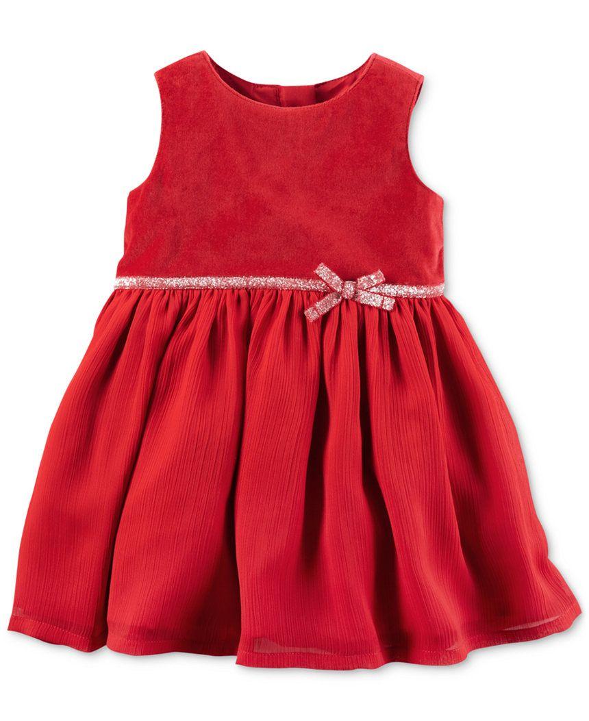 c0cdb9cec7e5 Carter's Velveteen Glitter-Waist Dress, Baby Girls (0-24 months) - Baby  Girl…