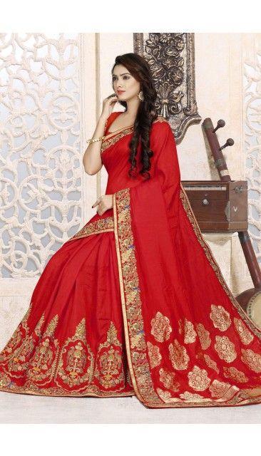 0bef9f3595 Indian Designer Red Art Silk Saree With Art Silk Blouse - DMV11454 ...