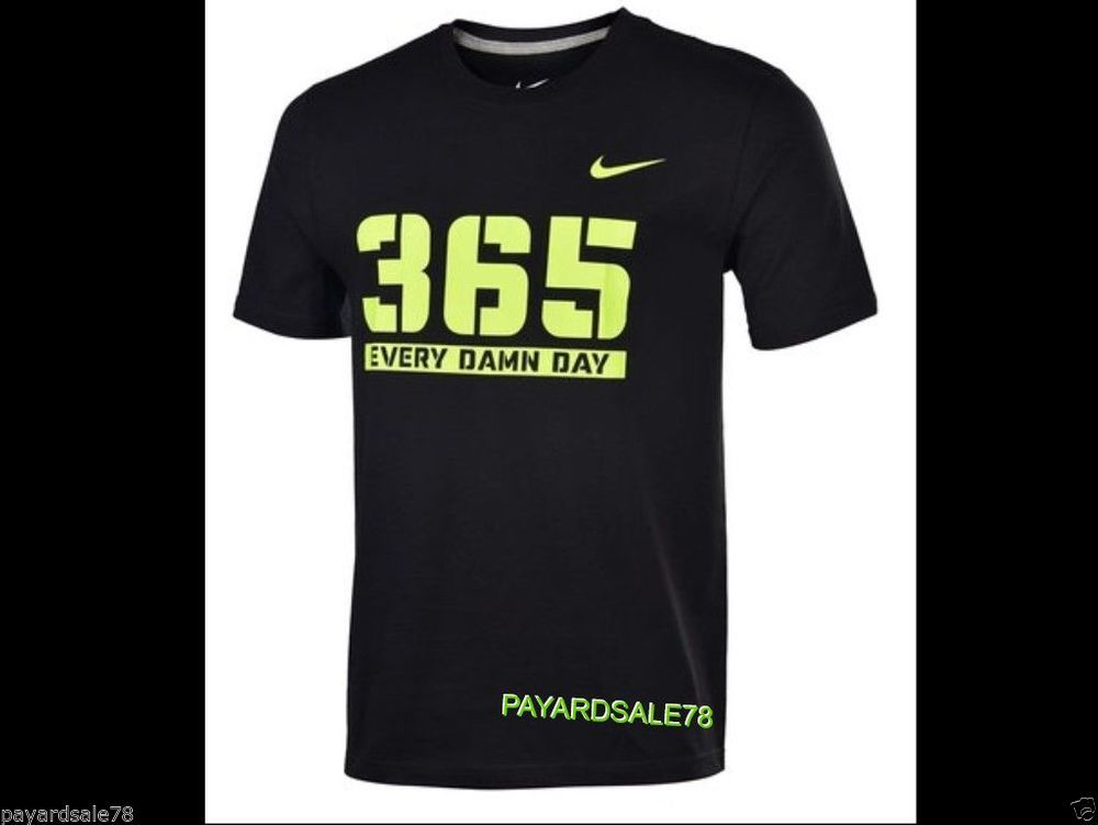 mens size xl nike 365 every damn day tshirt black volt