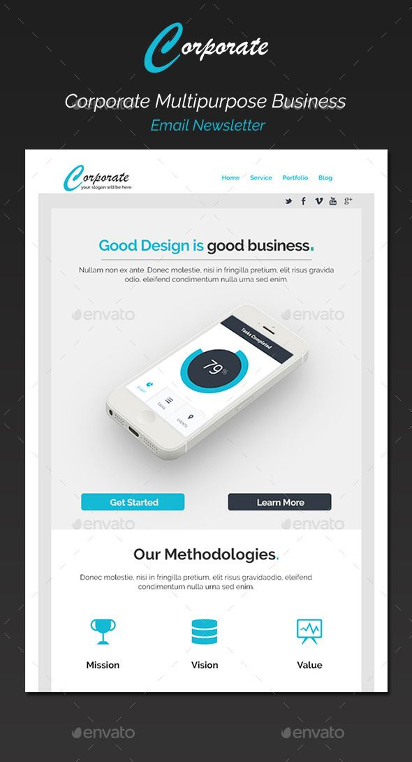 corporate multipurpose email newsletter template psd download