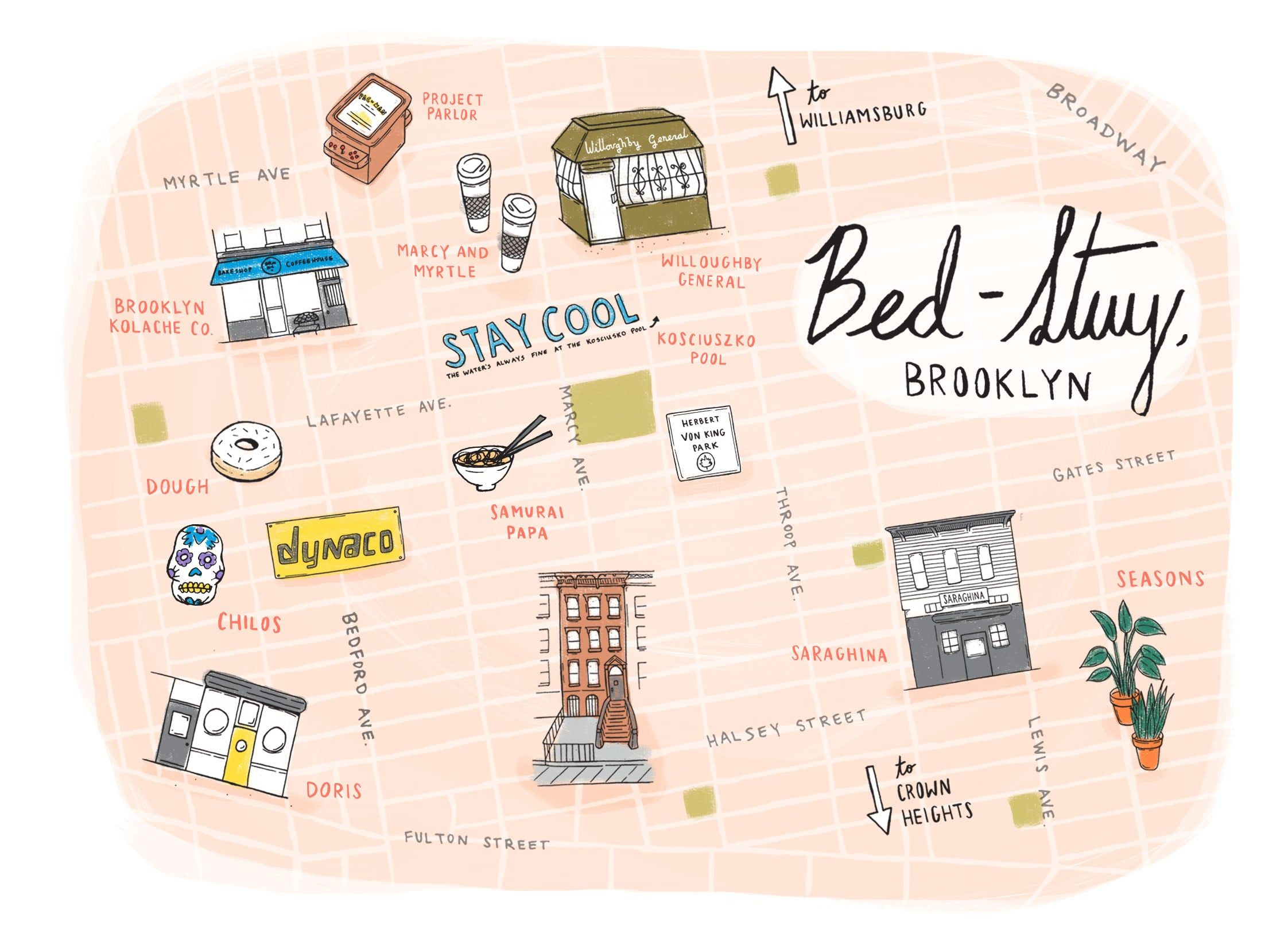 Bed Stuy Map Map of Bed Stuy, Brooklyn by Sunny Eckerle   SUNNY ECKERLE