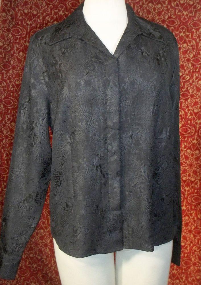 KORET black wrinkle polyester long sleeve blouse 16 (T45-03K5F) #Koret #Blouse #Casual