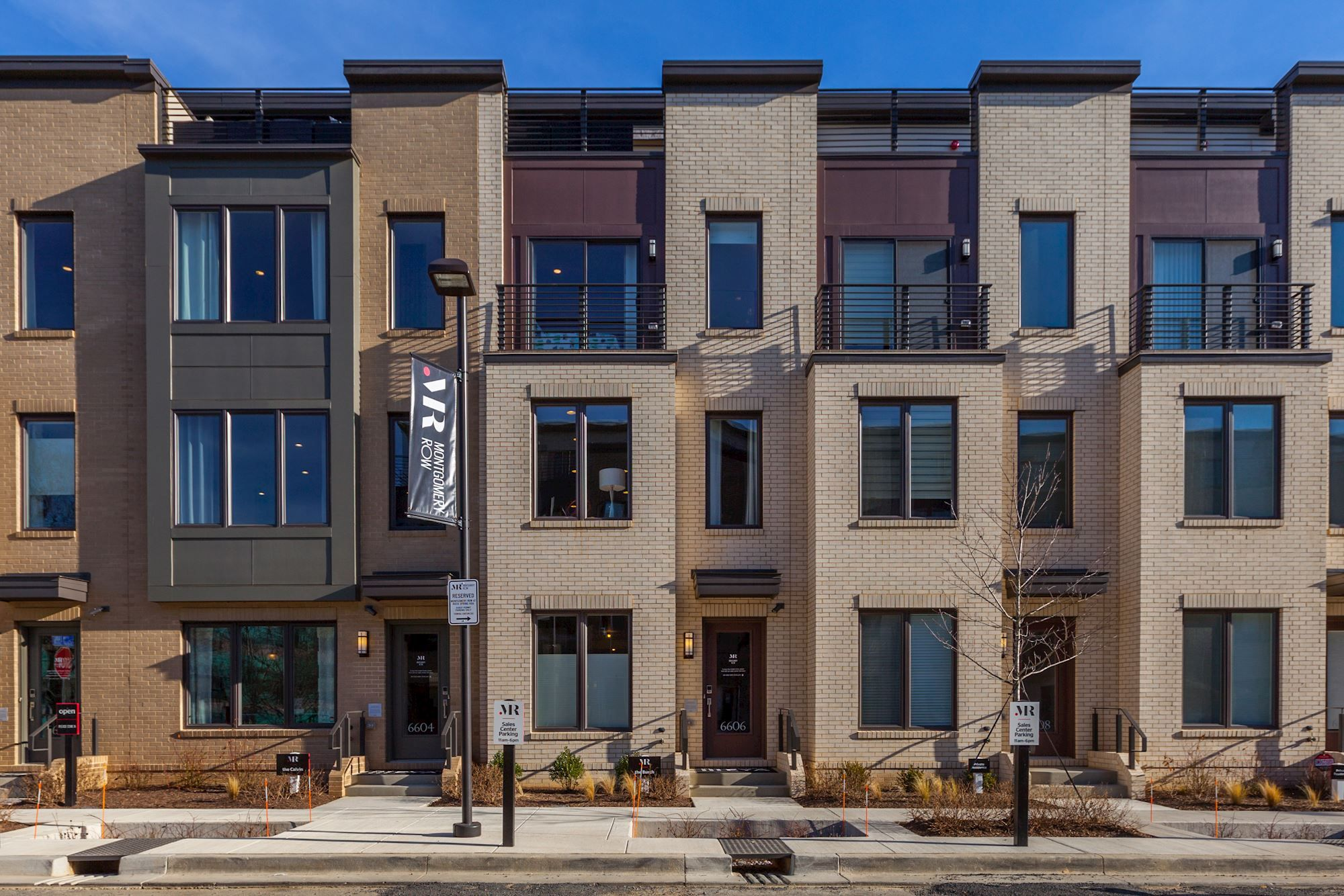Contemporary sleek townhome exterior of our burch plan at