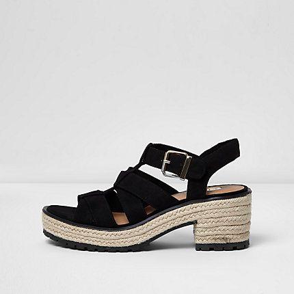 719b7ea085d9c Black strappy espadrille block heel sandals £38.00. River Island ...