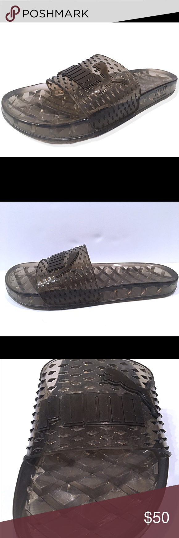 Puma X Fenty By Rihanna Black Slides Mens Sandals Puma X Fenty By Rihanna  Black Clear Jelly Slip On Slides Men s Sandals 365773-02 New without box  Puma ... ba493dfce