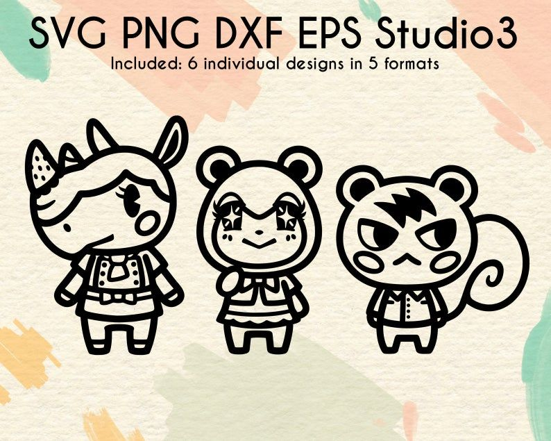 Merengue Judy And Marshal Bundle Files Cute Villagers Svg Digital Download Svg Dxf Png Eps Studio3 Animal Crossing Characters Svg Animal Crossing