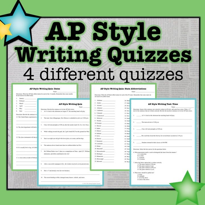 Associated Press Ap Style Writing Quizzes Informational Text