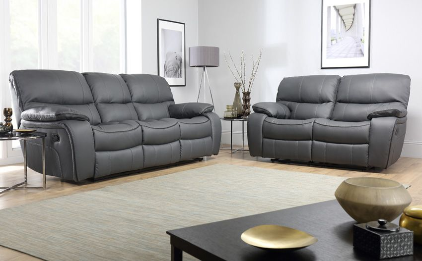 Seater Recliner Sofa Set Grey Leather