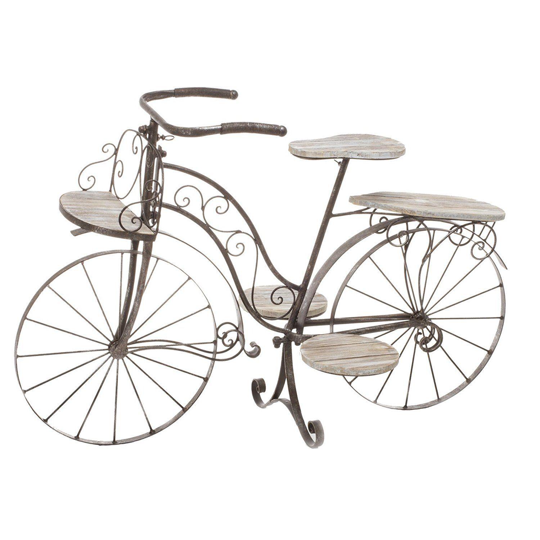 Vélo porte plante décoratif jardinière en bois chêne et fer forgé ...